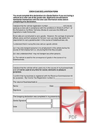 Crew Cab Declaration